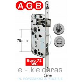 Κλειδαριά μεσόπορτας AGB, για WC, Euro 72.