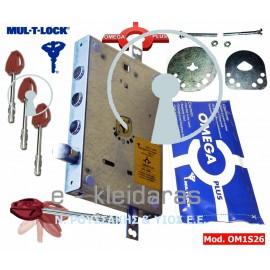 Κλειδαριά Ασφαλείας OMEGA PLUS, με 3 πείρους, γλώσσα κάτω, με περίσσευμα 23 cm, με κωδικό OM1S26M