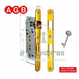 Κλειδαριά μεσόπορτας AGB, GRANDE (40x90) & (50x90).