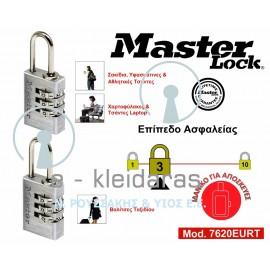 Σετ 2 Λουκέτα Μεταβλητού Συνδυασμού, Αλουμινίου, Master Lock, με κωδικό 7620EURT