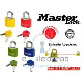 Σετ 2 Λουκέτα Αλουμινίου, με κάλυμμα από βινύλιο, Master Lock, με κωδικό 9121EURTCOLCC