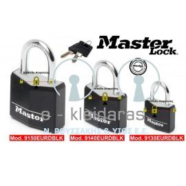 Λουκέτα Αλουμινίου, με Μαύρο Προστατευτικό Κάλυμμα, Master Lock, με κωδικό 9130, 9140 & 9150 EURDBLK