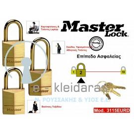 Σετ 3 Λουκέτα Ορειχάλκινα, Master Lock, με κωδικό 3115EURD